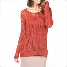 """Monoreno Layered Sweater with Camisole Monoreno open hole sweater plus camisole! True to size and very comfy. Additional details:  🔹 Color: Rust 🔹 Fabric: 50% linen; 20% Cotton; 30% Acrylic 🔹 Sizes: Small and Medium 🔹Measurements:     ✔️ Small: Bust=18"""" armpit to armpit; length=27""""     ✔️ Medium: Bust=18.5"""" armpit to armpit; length=28"""" 🔹 Condition: New with tags 🔹 Price firm unless bundled Monoreno Sweaters Crew & Scoop Necks"""