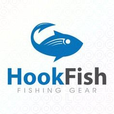 Logo Design of a blue tuna fish with its tail made from a fishing hook For Sale On StockLogos | Hook Fish logo