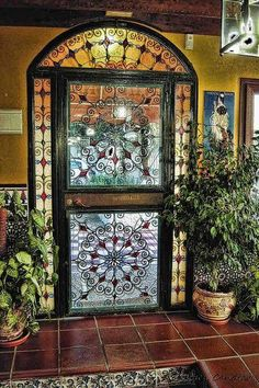 Витражная дверь в стиле модерн / Art Nouveau stained glass door