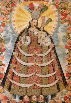 signorcasaubon:    Virgin of the Most Holy Rosary of Pomato, by an anonymous artist of the Cuzco school; found at the Convent of Santa Catalina in Cuzco, Peru; 18th century