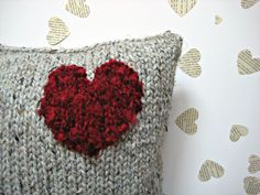 LOVE HEART CUSHION - Knitted pillow home accessory with a fluffy red heart.. $60.00, via Etsy.