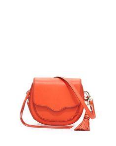 Suki Mini Leather Crossbody Saddle Bag, Poppy Red by Rebecca Minkoff at Neiman Marcus.