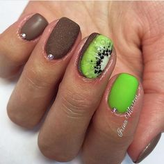 Bright lime nails, Brown nails, Chocolate nails, Kiwi nails, Lime nails, Matte nails, Nails under light green dress, Nails with acrylic powder