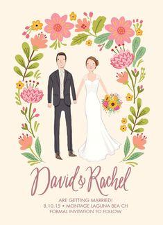 Custom Illustrated Couple Portrait Save the Date Card - Printable DIY - Digital File Only Diy Invitations, Invitation Cards, Trendy Wedding, Diy Wedding, Civil Wedding, Wedding Ideas, Wedding Tables, Wedding Details, Wedding Inspiration