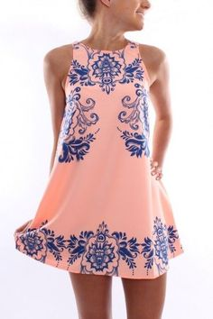 A placement print pink dress fits right into Summer.