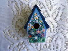 Hand painted bird house magnet Bird house by JudesTinyArt on Etsy, $12.75