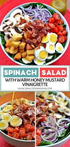 Spinach Salad with Warm Honey Mustard Vinaigrette is an easy recipe perfect for spring lunch or light dinner! This tasty meal is a healthy mix of bacon, red onion, mushroom, and hard-boiled eggs. A spring season food drizzled with a lightly sweetened warm vinaigrette! #salad #healthyrecipes #weightlosstips