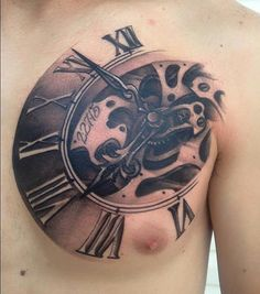 1-clock-chest-tattoo-KAM-definingskin.jpg (445×504)