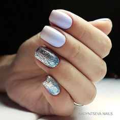 18 Beautiful White Nails Designs for Every Day ★ White Nails with Glitter for Bright Look Picture 1 ★ See more: http://glaminati.com/white-nails-designs/ #whitenails #whitenailsdesigns