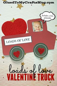 Loads of Love - Personalized Valentine Truck - Kid Craft Idea w/free printable template to get you started! Toddler Valentine Crafts, Valentines Day Activities, Valentines For Kids, Toddler Crafts, Preschool Crafts, Homemade Valentines, Truck Crafts, Valentine's Day Crafts For Kids, Craft Kids