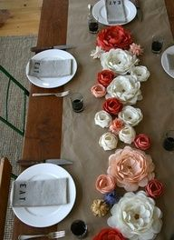 Artistic Wedding Designs Ultra Chic Ultra Cheap| Serafini Amelia| Asian Inspiration- Floating Flowers on-Brown Paper Roll-Paper Flower centerpiece.