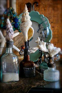 Vintage bottles with shells