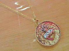One of a Kind 14k Yellow Gold & Sterling Silver Sacred Heart Pendant Necklace Handcrafted by tsojewelry, $235.00