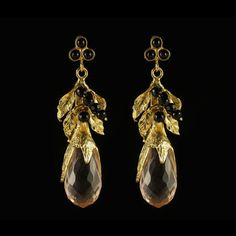 Antique Leaf Earrings Pink  by Karla Diaz Cano