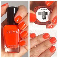Today's manicure is Zoya Paz, a neon orange. It reminds me of orange tic tacs. Three coats with glossy top coat. There's still some visible nail line. @zoyanailpolish #zoyapaz #everydayzoya #big10free #healthiernailpolishsassy_snyacks