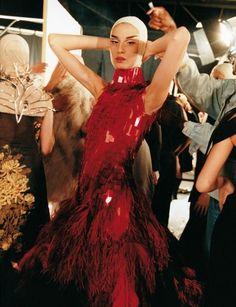 Backstage Alexander McQueen Spring 2001.