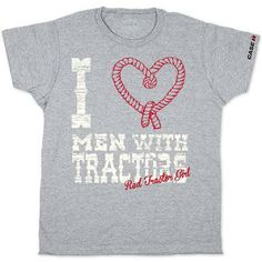 Case IH Red Tractor Love Ladies' Tee If you are a Red tractor girl, you love men with tractors.  This tee gives a chic look with a feminine cut and cap sleeves. A cheeky Red tractor girl phrase ropes you in across the front while the Case IH logo trims the left sleeve. Made of 90% cotton and 10% polyester. #CaseIH #red #tractor