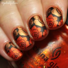 Stamping decals with China Glaze Riveting and Harvest Moon