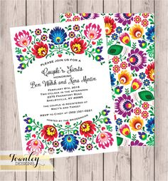 Floral Folk Fiesta Wedding Invitation Fiesta Wedding Invitation Hispanic Mexican Wedding Wedding Suit RSVP Card Thank You Card Quinceanera Invitations, Quinceanera Party, Quinceanera Decorations, Mexican Themed Weddings, Couples Shower Invitations, Mexican Wedding Invitations, Couples Shower Themes, Invites, Invitation Wording