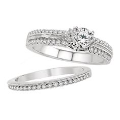 14K White Gold Vintage Wedding Set.    http://www.thediamondstore.com/products/engagement-rings/14k-white-gold-vintage-wedding-set-%7C-ash24643/6-702