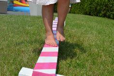 Kleine Ballerina - Einen Balancierbalken bauen Little Ballerina - a balancing bar for the garden_DiY Diy Projects To Try, Garden Projects, Projects For Kids, Crafts For Kids, Ballerina Party, Little Ballerina, Planting For Kids, Diy Outdoor Bar, Balance Beam
