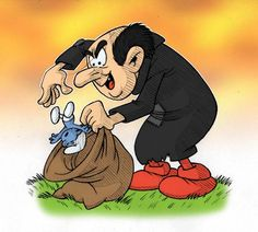 The main antagonist, Gargamel the sorcerer is the sworn enemy of the Smurfs. He is an evil wizard with limited powers. Gargamel is absolutely obsessed with the Smurfs and his main goal vacillates from trying to eat the Smurfs to trying to capture them to use in a potion to make gold.
