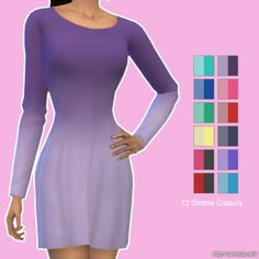 Simista: Long Sleeve Little Dresses In Ombres • Sims 4 Downloads