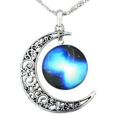 Amazon.com: FANSING Galaxy Necklace Hollow Out Crescent Star Galactic... ($5.99) ❤ liked on Polyvore featuring jewelry, necklaces, pendant jewelry, star charms, cosmic jewelry, star necklace and charm necklaces