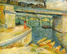 Bridges Across The Seine At Asnieres by Vincent Van Gogh