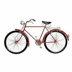 Metal Walls, Metal Wall Art, Red Home Accessories, Retro Bicycle, Retro Bikes, Red Home Decor, Metal Plaque, Retro Home, Boutique