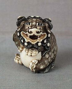 SHISHI with ball // Late 18th to early 19th century Kyoto school ivory netsuke of a seated shishi (Buddhist lion) hugging a large ball.