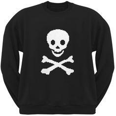 8-Bit Skull and Crossbones Black Adult Crew Neck Sweatshirt | OldGlory.com