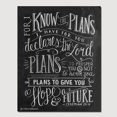 Scripture Art Jeremiah 2911 Print  Bible Verse 11x14 by LilyandVal, $29.00