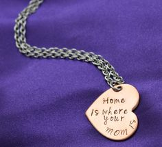 New to CICinspireme on Etsy: Home is where your MOM is copper hand stamped mom necklace (27.00 USD)