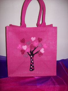 """Medium Luxury Unique Bespoke Hand Embellished Jute Bag. """"Memory Tree"""" Bag each heart is a special memory of a loved one!"""
