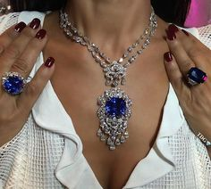 MEMORIES OF SUMMER AND SAPPHIRES!!! The most incredible blues, all from wonderful @orlovjewelry ... what a dream to wear such spectacular jewels!!!