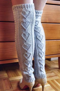 "Ravelry: ""Heart Warmers"" Heart Cable Knit Legwarmers and Mini Mits in Girls and Adult Sizes pattern by Lauren Riker Guêtres Au Crochet, Mode Crochet, Crochet Pattern, Vogue Knitting, Knitting Socks, Knitting Patterns Free, Knit Patterns, Crochet Leg Warmers, Knit Picks"