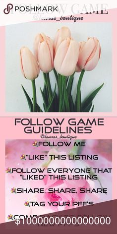 💞#17 FOLLOW GAME! FOLLOW ME, LIKE POST, SHARE!💞 #16 FOLLOW GAME🌸FOLLOW ME! LIKE! SHARE! TAG YOUR PFF'S!🌸Return to follow new posher's! Let's work together to increase our followers!   Thank you for visiting @lauras_boutique! I hope that you find something that you love in my closet!😘💞xoxo    🌸Suggested User  🌸3X Party Co-Host  🌸Posh Mentor  🌸Top Rated Seller  🌸Top 10% Seller  🌸Top 10% Sharer  🌸Fast Shipper Laura's Boutique Other