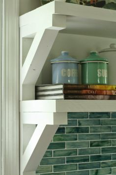 Shades of the Sea Vintage Kitchen Revealed~~kitchen shelf design Kitchen Shelf Design, Kitchen Shelves, Kitchen Backsplash, Kitchen Decor, Backsplash Ideas, Kitchen Cabinets, Kitchen Art, Kitchen Colors, Wood Shelves