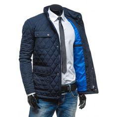 Pánska prešívaná elegantná zimná bunda tmavo modrej farby - fashionday.eu