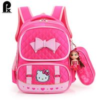 2016 New primary school bags for teenagers girls canvas Children Backpacks  cute kids pink Hello Kitty 27943a9c2e805
