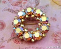 Vintage Estate AB Crystal Rhinestone Wreath Circle Brooch Pin Chunky Prong Set #Unbranded