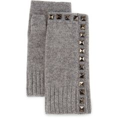 Neiman Marcus Cashmere Studded Fingerless Gloves ($28) ❤ liked on Polyvore featuring accessories, gloves, smoke grey, gray fingerless gloves, fingerless gloves, grey fingerless gloves, grey gloves and cashmere fingerless gloves