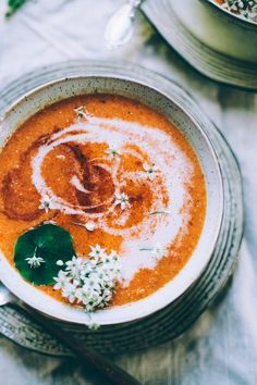 chilled roasted red pepper and summer corn soup