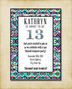 9 year old birthday invitation wording my birthday pinterest girl birthday party invitation purple black aqua tribal print 6th 7th 8th 9th 10th 11th filmwisefo Gallery