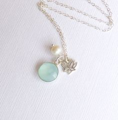Sterling Silver Framed Sea Green Chalcedony Stone with Sterling Lotus Flower and Pearl Necklace -- Bezel Aqua Stone