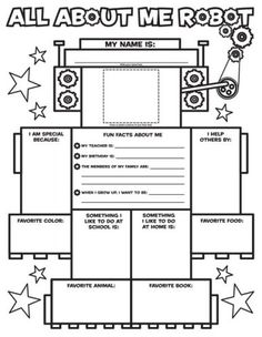 Love this! Graphic Organizer Posters: All-About-Me Robot (Grades K-2): 30 Fill-in Personal Posters for Kids to Display with Pride/Liza Charlesworth