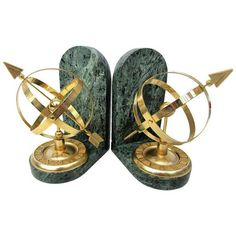 Vintage Brass Armillary Globes Bookends- a Pair (£105) ❤ liked on Polyvore featuring home, home decor, small item storage, bookends, brass armillary sphere, green globe, arrow home decor, arrow bookends and brass bookends