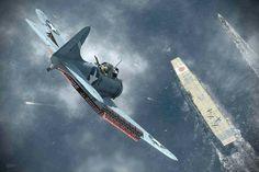 American SBD Dauntless dive bomber in dive on Akagi BFD.