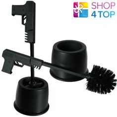 GUN PISTOL SHAPED TOILET BRUSH WITH HOLSTER BLACK BATHROOM FUNNY NOVELTY GIFTS #OutoftheBlue